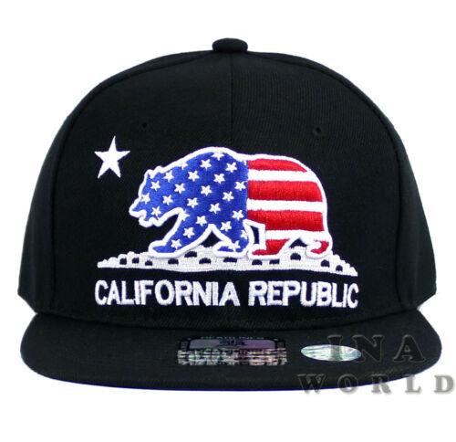 California Republic hat USA Flag BEAR Stars and Stripes Snapback Baseball cap