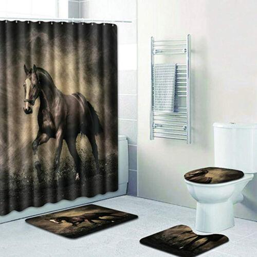 4 Piece Bathroom Set,Animal Black Horse Waterproof Shower Curtain Non-Slip