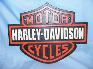 LARGE HEAVY CAST IRON WALL PLAQUE ADVERTISING SIGN *MOTOR HARLEY DAVIDSON CYCLES
