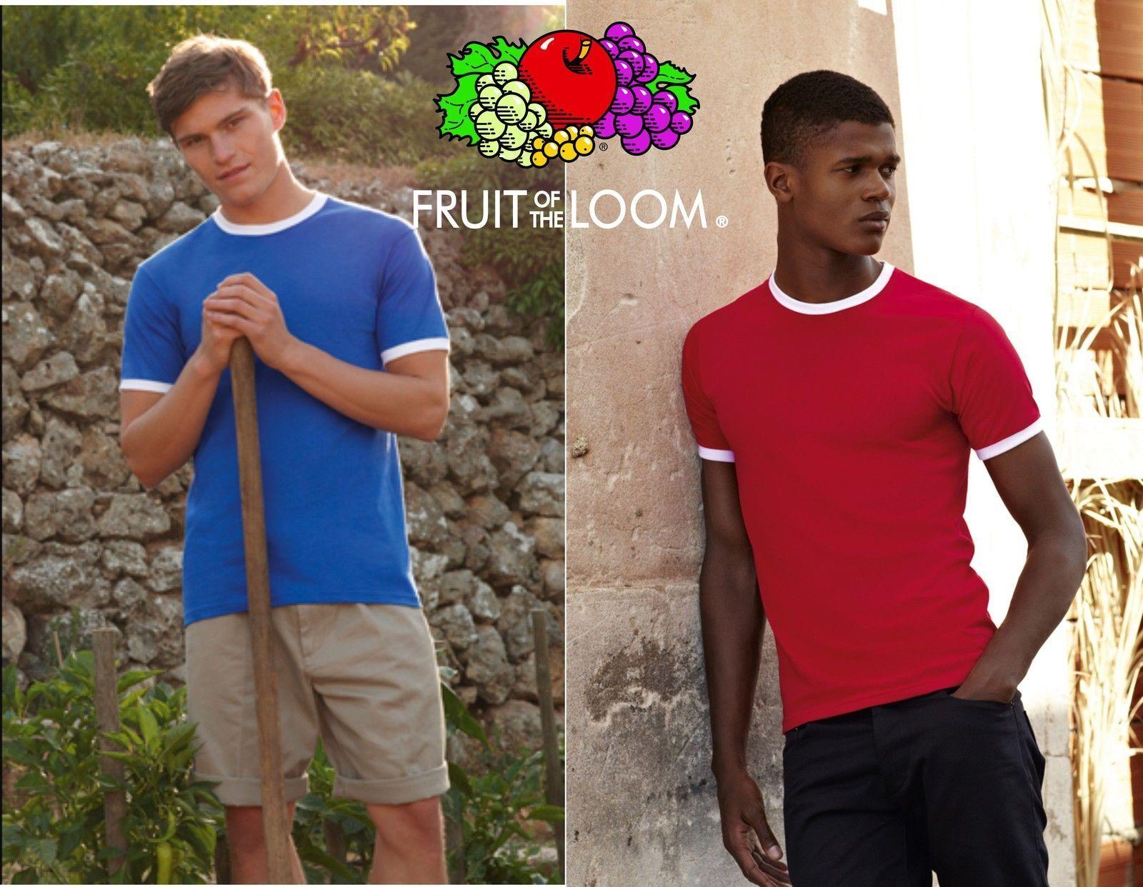 FRUIT OF THE LOOM T-shirt BICOLORE maglietta 150 pezzi RINGER manica corta
