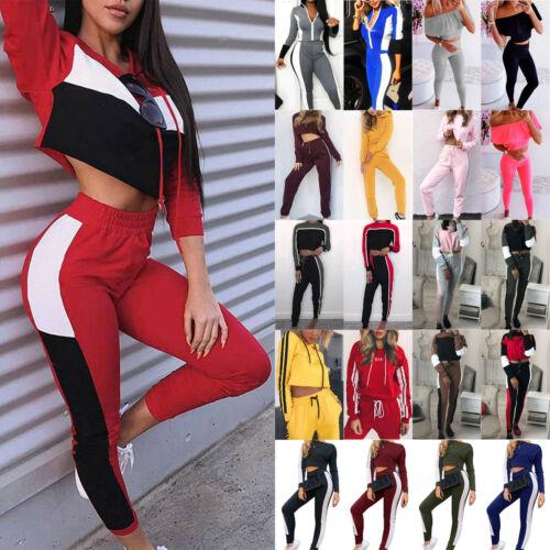 Women Cropped Tops Hooded Tracksuit Sweatshirt Fit Gym Sport Pants Sweat Suit