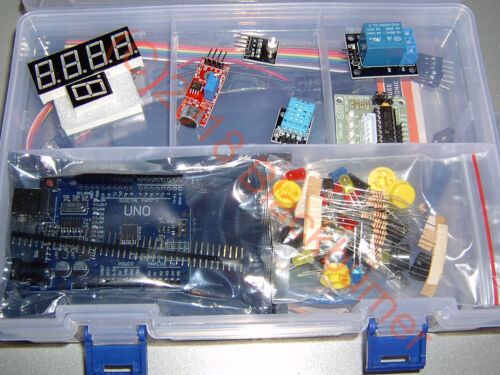 Starter Kit Set Arduino UNO R3, RFID, Matrix-LED, LCD-Display, Uhr-Modul + Box