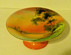 Noritake-Compote-Handpainted-M-Green-Mark-Vtg-Scenic-Pedestal-Small-Tray-6-5-034