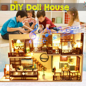 DIY-Handcraft-3D-Wooden-Toy-Miniature-Dollhouse-LED-Lights-House-Gift-w-Cover