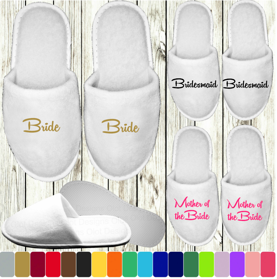 White Wedding Slippers - Personalised Print Novelty Bridal Party Spa Closed Toe