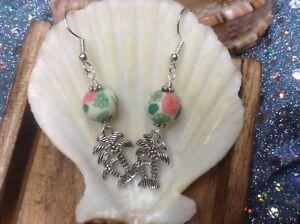 Palm-tree-charm-with-Flowered-Clay-bead-dangle-handmade-earrings