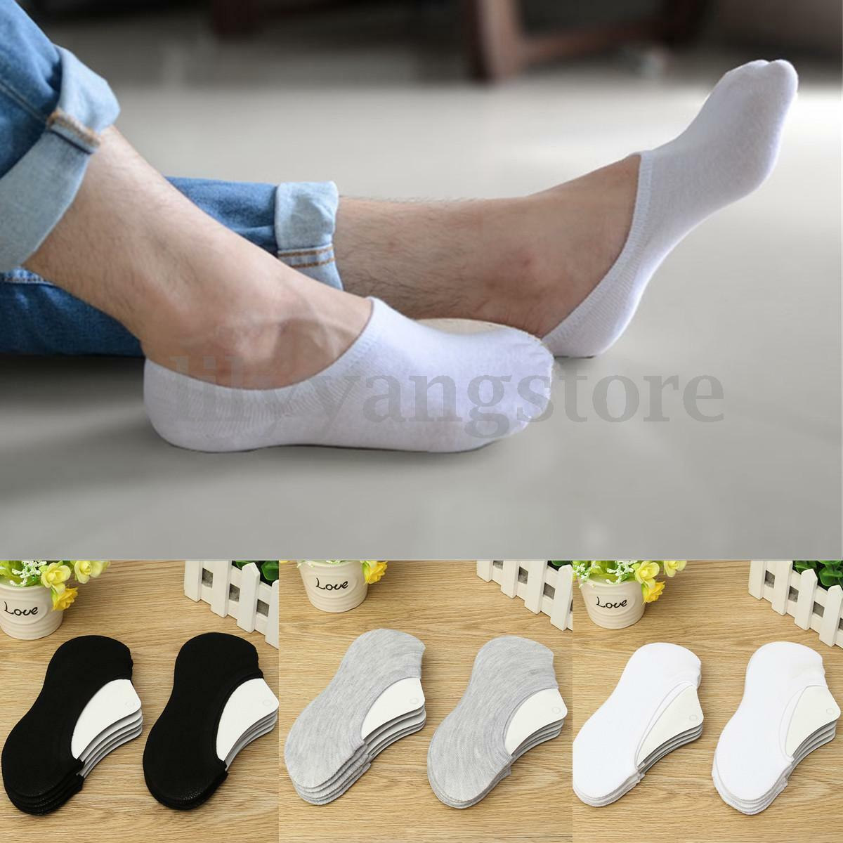 20 Pairs Men Women Loafer No Show Non-Slip Invisible Low Cut Boats Socks Cotton