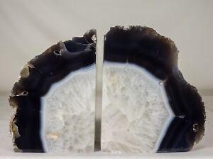 14-6lbs-Agate-Bookends-Geode-Crystal-Polished-Brazil-Specimen