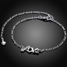 Sterling Silver 925 Love Crystal Anklet Bracelet Adjustable Free Gift Bag