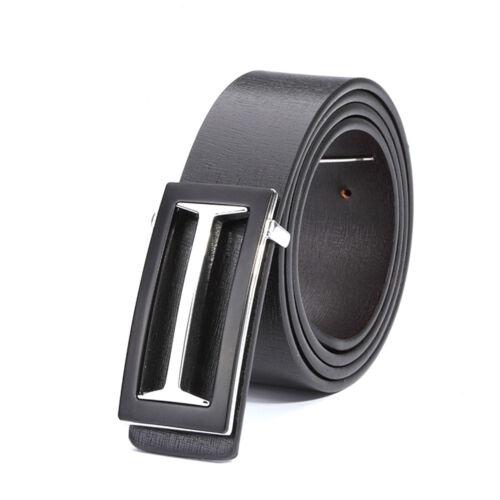Men Metal Clamp Belt Waist Suit Trouser Leather Business Automatic Buckle