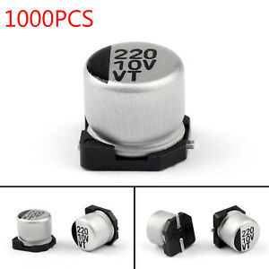 1000x-10V-220uF-6-3-5-8mm-20-SMD-Condensatori-elettrolitici-Chip-E-Cap-IT