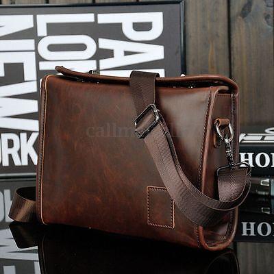 UK Men's Vintage Leather Messenger Crossbody Shoulder Bag Handbag School Satchel