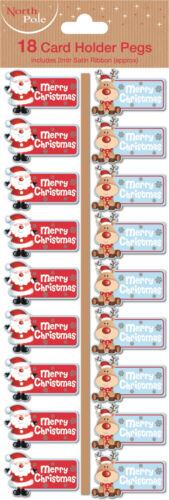 Merry ChristmasSanta /& ReindeerXmas Card Holder Pegs with Ribbon 18-108pk