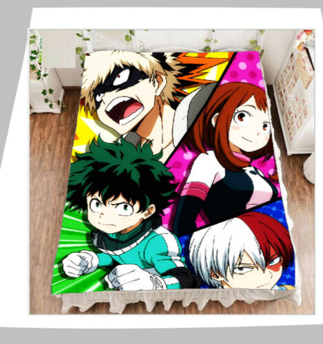 Anime Bed Sheet My Hero Academia Fleece Blanket 200x150cm Warm Midoriya Izuku