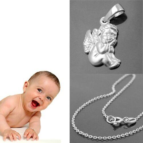 Handkussi Schutz Engel Taufe Kinder Kommunion Weiß Gold 585 mit Kette Silber 925