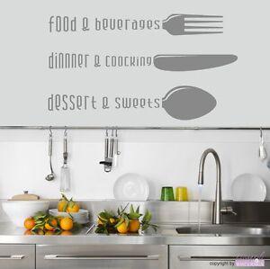 Wandtattoo Kitchen Food Cooking Dessert Esszimmer Kuche Essen Wandsticker Ebay