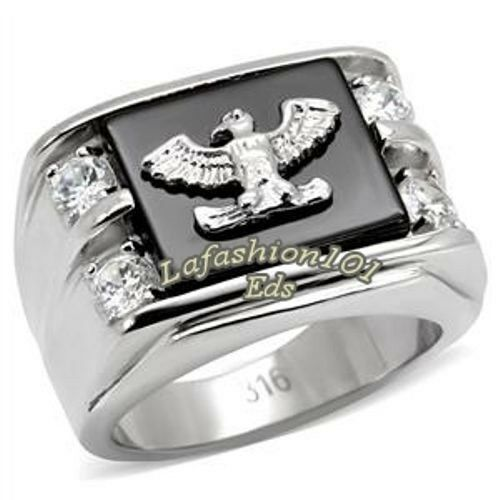 316 Stainless Steel American Eagle on CZ Onyx Mens Fashion Great Ring