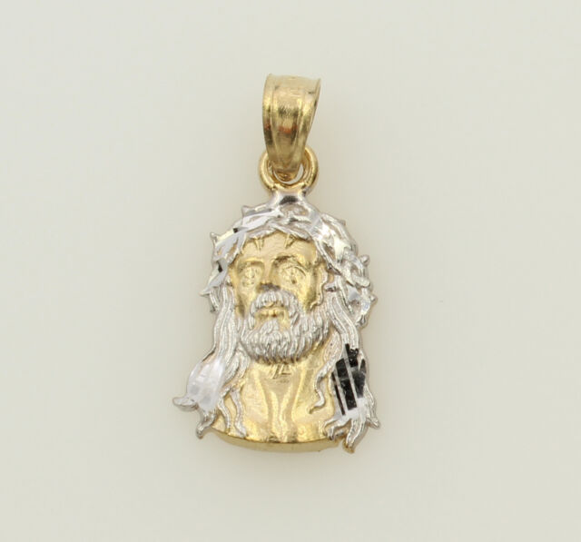 14K 2 Tone Yellow Gold Very Small Jesus Face Thorn Crown Pendant Baby Children