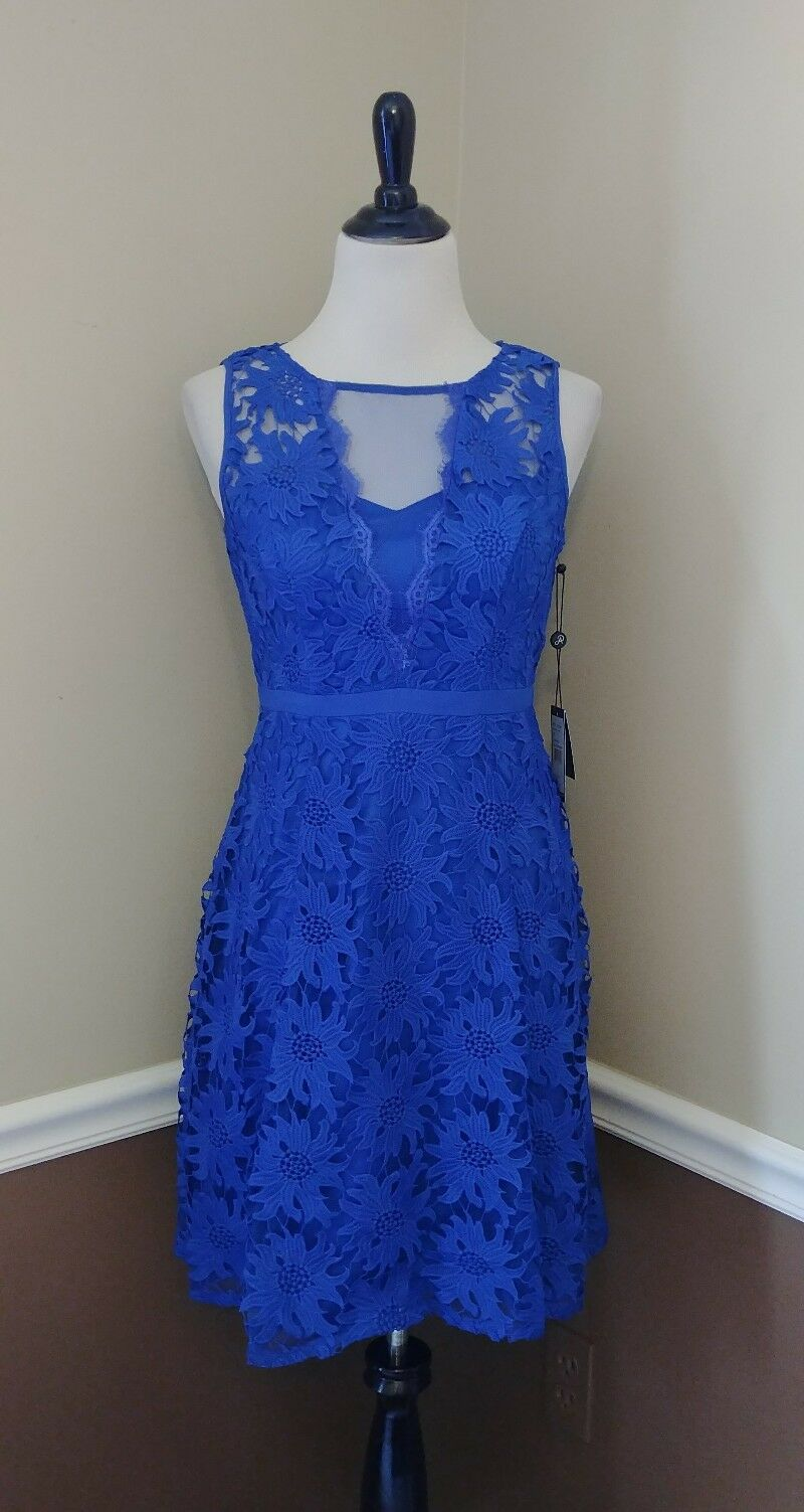 MODCLOTH Robe 4 Bleu Royal Crochet Dentelle Cocktail Adrianna Papell Marvel 169