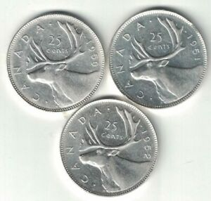 3-X-CANADA-25-CENTS-QUARTERS-KING-GEORGE-VI-SILVER-COINS-1950-1951-1952