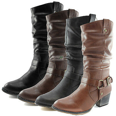 Woman Western Cowboy Ankle Strap Comfy Slouch Boots Zipper Fashion Winter Shoes