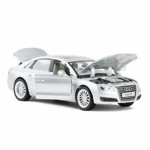 AUDI-A8-1-32-Coches-Modelo-de-Metal-Regalo-Ninos-Coleccion-de-vehiculos-de-juguete-Diecast-Plata