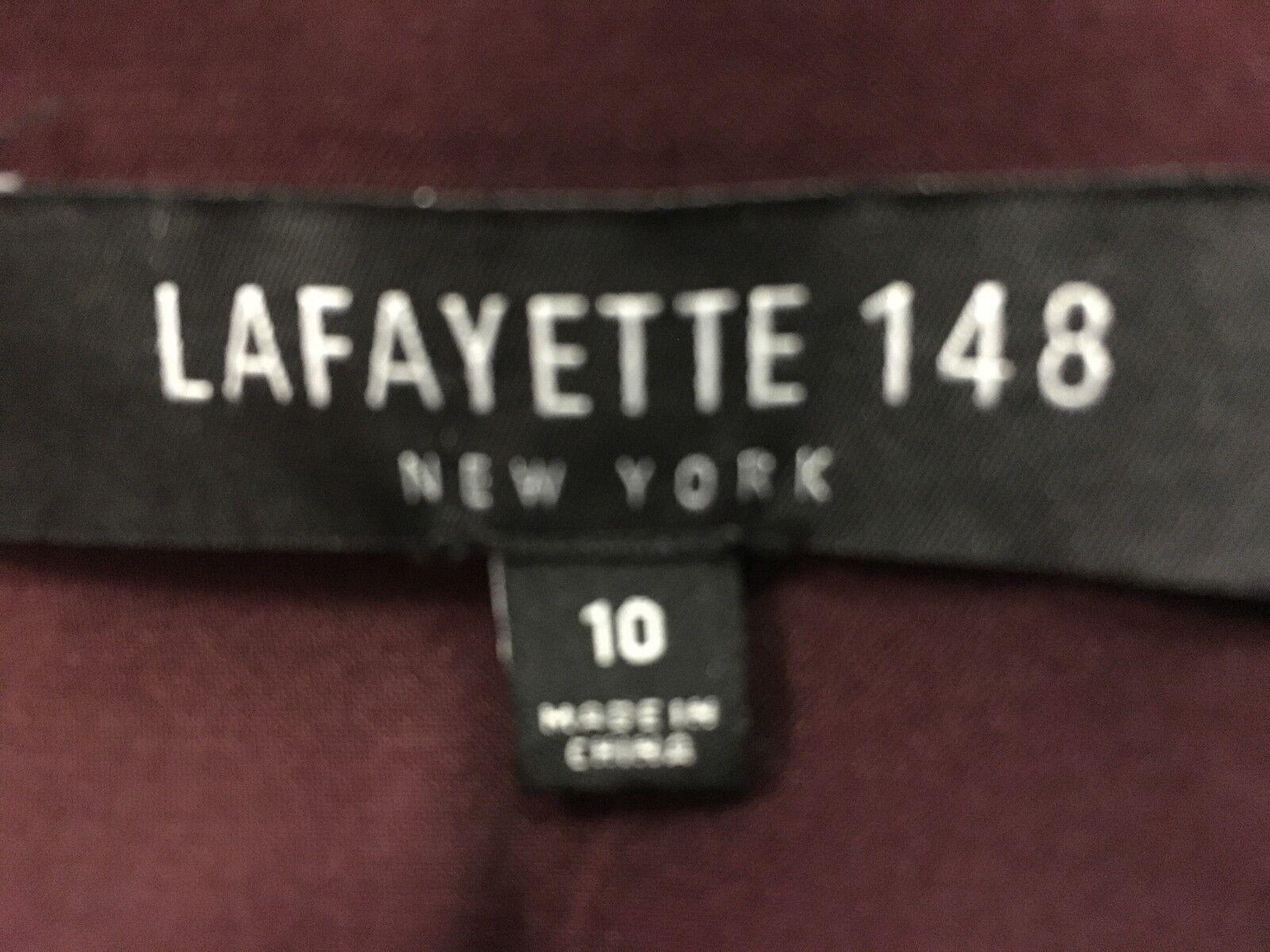 Lafayette 148 maroon 3 4 sleeve wool crepe womens size 10 dress