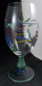 Lenox-POPPIES-ON-BLUE-Goblet-Hand-Painted-GREAT-CONDITION