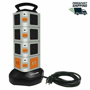 Power-Strip-Tower-14-Outlets-4-USB-Ports-Surge-Overload-Protector-with-6FT-Cord