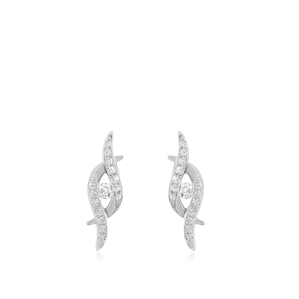 10k White gold Channel & Micro Pave Set Round Cut Diamond Stud Earrings 0.25 Ct