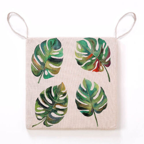 Home Green Leaf Printed Linen Cushion Seat Pad Dining Room Chair Mat Tie On HL
