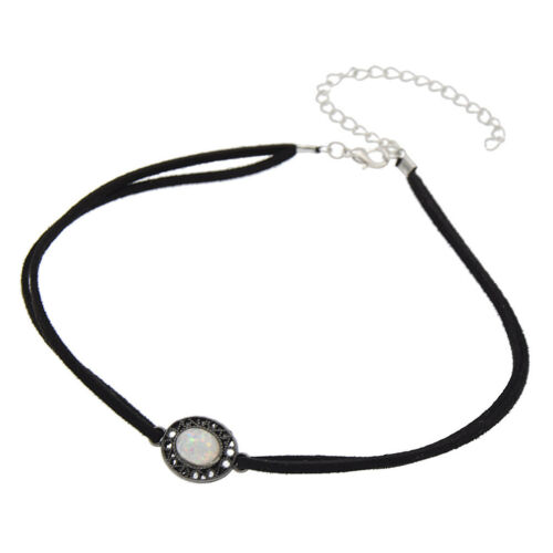 Fashion Bohemian Turquoise Leather Opal Choker Necklace Jewelry for Women Gift