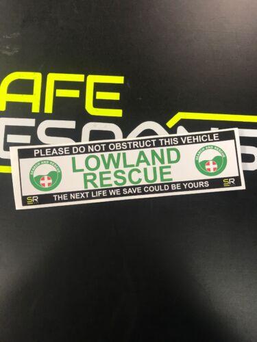 Sticker 245mm LOWLAND RESCUE Logo Call Sign Car Van Emergency Response ST24534
