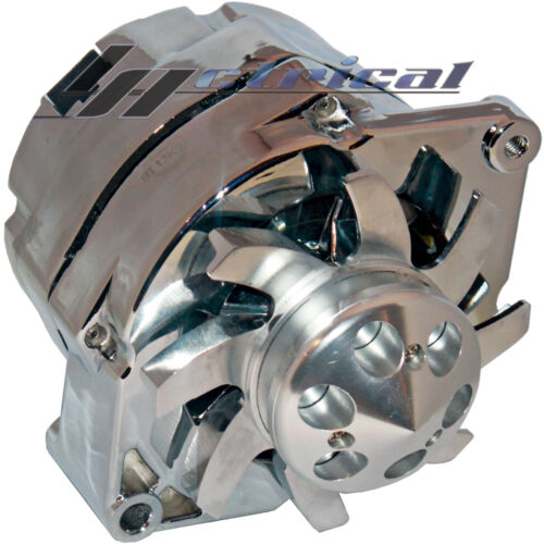 NEW CHROME ALTERNATOR FOR CHEVY HOLDEN GM HOTROD BILLET ONE WIRE 10SI HD 110AMP