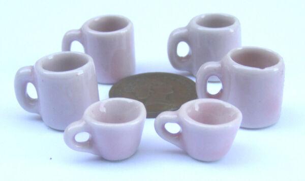 1:12 Scala 6 Dipinti A Mano Rosa Ceramica Tumdee Casa Delle Bambole Miniatura Tazze E Tazzine Prezzo Moderato
