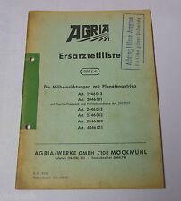 Teilekatalog Ersatzteilliste Agria für Mäheinrichtung mit Planetenantrieb S.1972