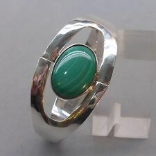Designer- Armreif wohl 80er Jahre, Silber Malachit, gestempelt: TL 83 925 Mexico