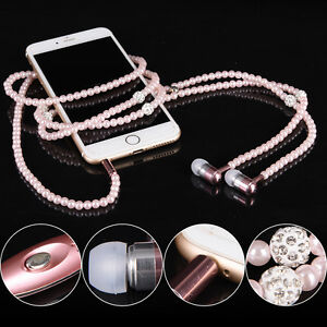 Luxury-Diamond-Necklace-Chain-Earphone-hand-free-Wired-Stereo-headset-for-iphone