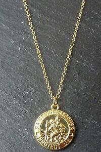 GOLD-PLATED-ST-SAINT-CHRISTOPHER-COIN-DISC-NECKLACE-PENDANT-CHAIN