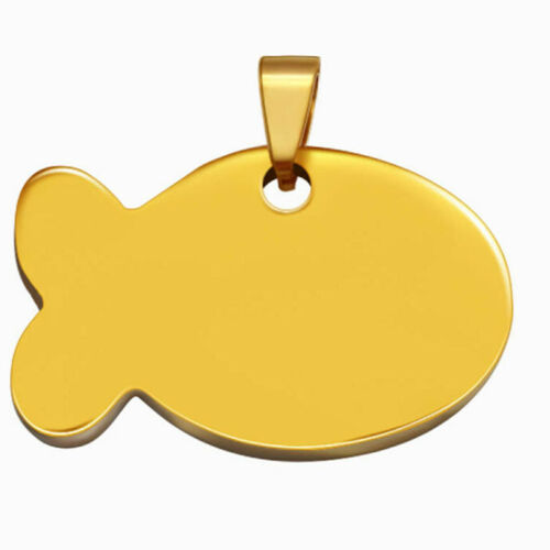 Fish Shape ID Tag Engraved Dogs Cats Anti-lost Name ID Tag Collar Pendant S