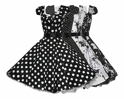Classy 40's 50's Vintage Retro Bow Front Rockabilly Jive Swing Dress New 8 - 18