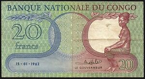 1962 Congo Democratic Republic 20 Francs Banknote * G 484127 * aVF * P-4a *