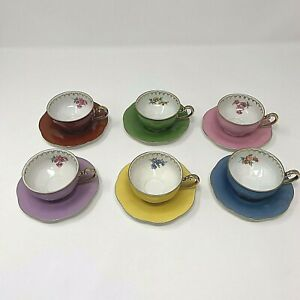 Puls-Germany-Demitasse-Cups-and-Saucers-Porcelain-Assorted-Colors-Set-of-6