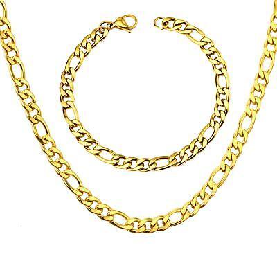 Luxus Set Figarokette Armband 7 mm 750er Gold 18 Karat vergoldet gelbgold S2940 | eBay
