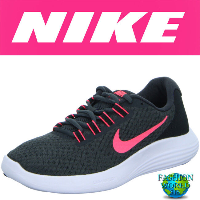 NIKE WOMEN'S SIZE 11 LUNARCONVERGE RUNNING SHOES 852469 002 BLACK/HOT PUNCH