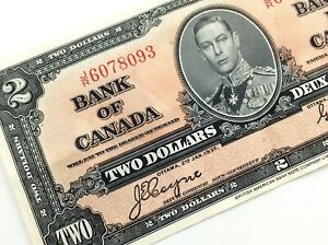 1937-Canada-2-Dollar-JR-Circulated-Canadian-Coyne-Towers-Banknote-M819