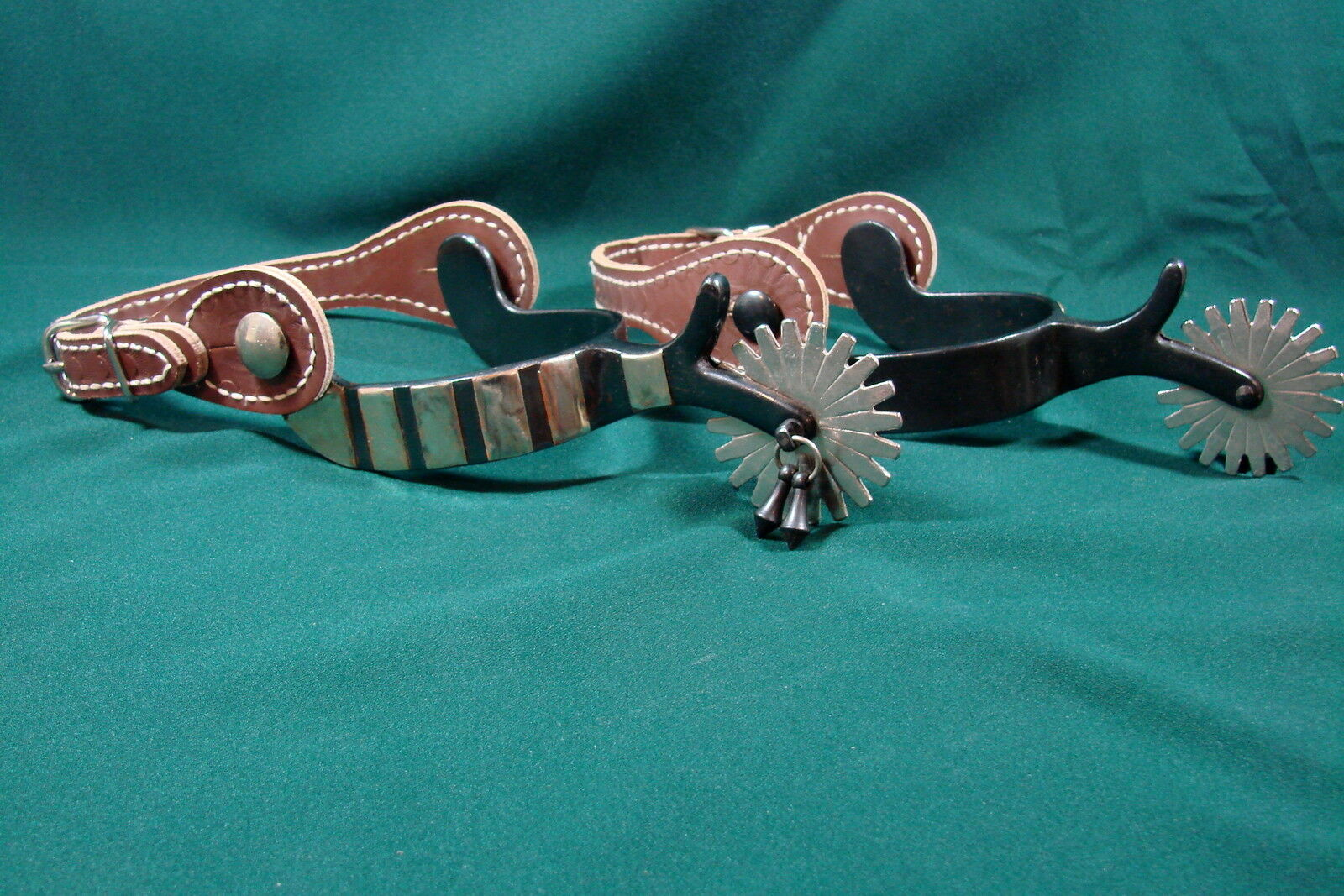 WESTERN Silber OVERLAY Blaud Parade Spurs With Leather Straps and Jingle Bobbers