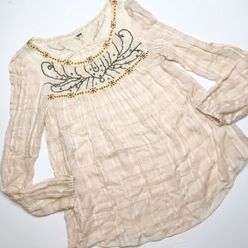 Free People Xsmall Blouse Embroidered Beaded Gauzy