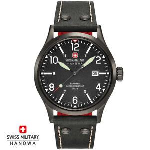 Swiss-Military-Hanowa-06-4280-13-007-07-Undercover-schwarz-Leder-Herren-Uhr-NEU