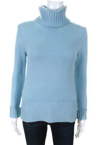 Burberry-London-Womens-Turtleneck-Sweater-Blue-Wool-Size-Extra-Small
